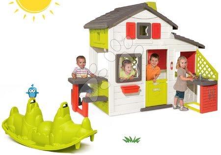 Jucării pentru fetițe - Set căsuţă Prietenilor Smoby cu bucătărie, sonerie și balansoar cu două părți Câine