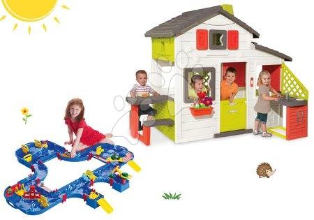Komplet hišica Prijateljev Smoby s kuhinjo in vodna steza AquaPlay Mega LockBox v kovčku