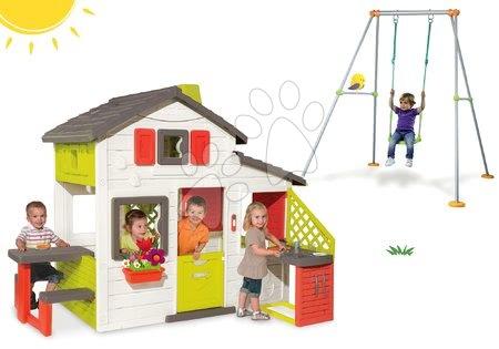Set domček Priateľov Smoby s kuchynkou a hojdačka Portique s kovovou konštrukciou výška 180 cm