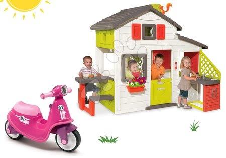 Jucării pentru fetițe - Set căsuţă Prieteni Smoby cu bucătărie mică și babytaxiu cu far Scooter şi cu roţi din cauciuc