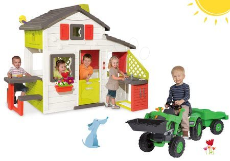 Komplet hišica Prijateljev Smoby s kuhinjo in traktor na pedala Jim Loader z nakladalnikom in prikolico