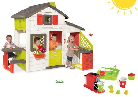 Jucării pentru fetițe - Set căsuţă Prieteni Smoby cu bucătărie mică și aparat de cafea espresso cu ceşti cadou