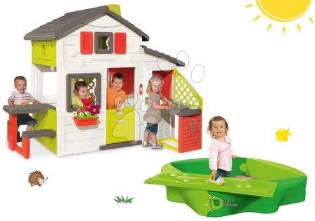 Jucării pentru fetițe - Căsuţă copii Prieteni Smoby cu bucătărie și nisipar Sandy cu capac și pistă de apă
