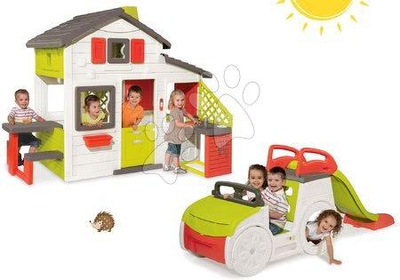 Hračky pre chlapcov - Set domček Priateľov Smoby s kuchynkou a zvončekom a preliezačka Auto so šmykľavkou dlhou 150 cm