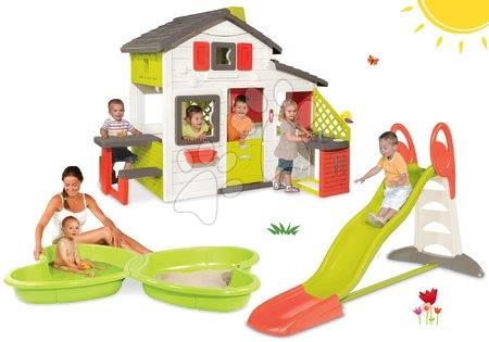 Hišice s toboganom - Komplet hišica Prijateljev Smoby s kuhinjo in tobogan Toboggan XL 2,3 m s peskovnikom Metulj