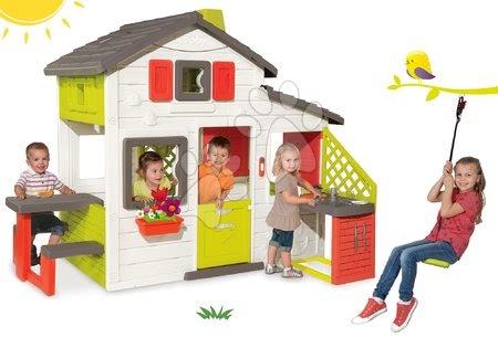 Set domček Priateľov Smoby s kuchynkou a darček výškovo nastaviteľná hojdačka Activity Swing