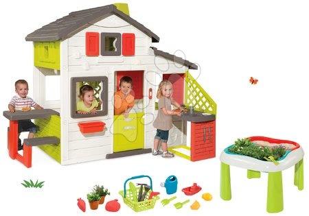 Jucării pentru fetițe - Set căsuţă Prieteni Smoby cu bucătărie, sonerie şi măsuţă Grădinar De Jardinage de la 3 ani