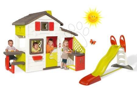 Set domček Priateľov Smoby s kuchynkou a zvončekom a šmykľavka Toboggan XL s dĺžkou 2,3 m