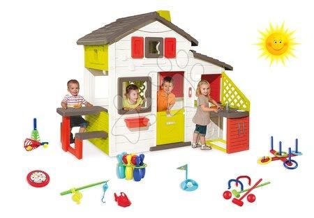 Set detský domček Priateľov Smoby s kuchynkou a zvončekom a športový set 7 hier