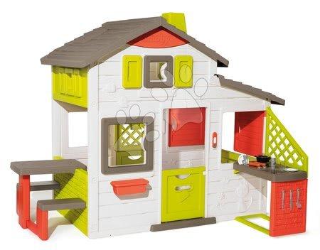Domček Priateľov s kuchynkou priestranný Neo Friends House Smoby rozšíriteľný 2 dvere 6 okien a piknik stolík 172 cm výška s UV filtrom