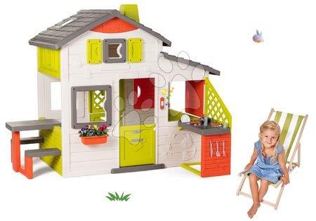 novi-proizvod - Set domček Priateľov Smoby s kuchynkou a drevené lehátko polohovateľné s textilným poťahom SM810202-56