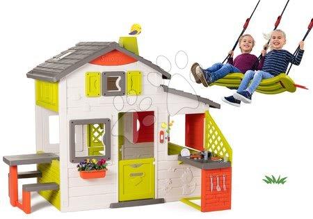 novi-proizvod - Set kućica Prijatelja Smoby s kuhinjom i viseća ljuljačka za dvoje djece podesiva po visini