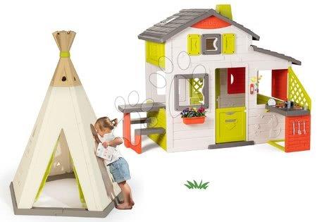 - Szett házikó Jóbarátok Smoby konyhácskával és natúr indián sátor TeePee állitható