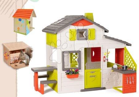 novi-proizvod - Set kućica Prijatelja Smoby s kuhinjom i drvena kućica za ptice s hranilicom za vjevericu