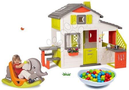- Szett házikó Jóbarátok Smoby konyhácskával és elefánt hinta és egyensúlyozó tölcsér-homokozó-hinta-csúszda-mászóka-medence