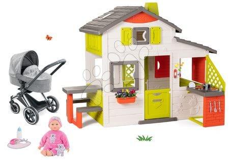 - Szett házikó Jóbarátok Smoby konyhácskával és Cybex 3in1 babakocsi Corolle játékbabával 20 fajta hanggal és 8 funckióval