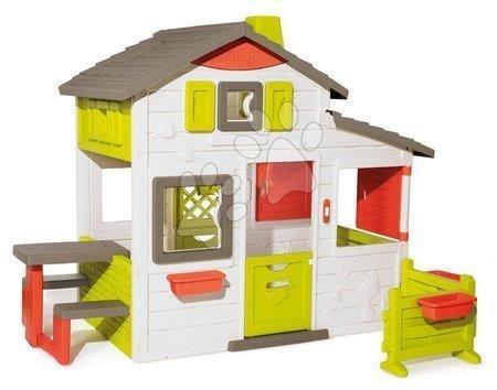 Domeček Přátel prostorný Neo Friends House Smoby se zahrádkou rozšiřitelný 2 dveře 6 oken a piknik stolek 172 cm výška s UV filtrem