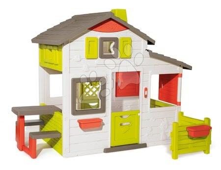 Kućica Prijatelja prostrana Neo Friends House Smoby proširena s vrtom 2 vrata 6 prozora i piknik stolić 172 cm visine s UV filterom