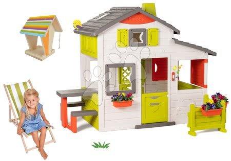 novi-proizvod - Set kućica Prijatelja Smoby s prednjim vrtom i drvena ležaljka te hranilica za ptice