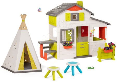 - Szett házikó Jóbarátok Smoby előkerttel és natúr indián sátor TeePee két taburettel