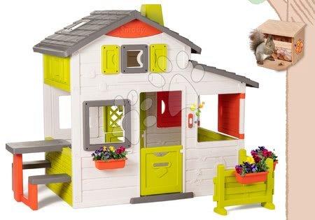 Smoby - Set domeček Přátel Smoby s předzahrádkou a krmítko pro veverku