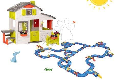 Smoby - Set domeček Přátel Smoby s předzahrádkou a velká vodní dráha AquaPlay na zahradu