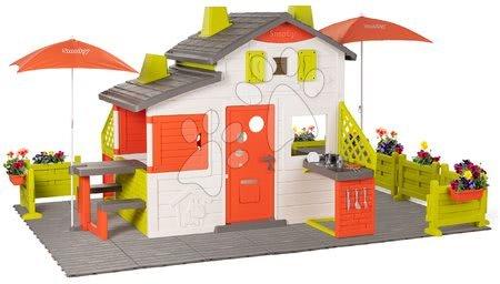 - Házikó Neo Friends House DeLuxe Smoby nagy kerttel és frissitővel a napernyő alatt_1