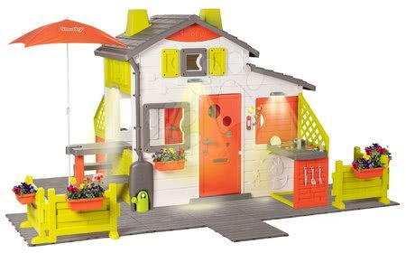 Căsuța Neo Friends House DeLuxe Smoby cu iluminare de seară și două intrări în două bucătării SM810211-H