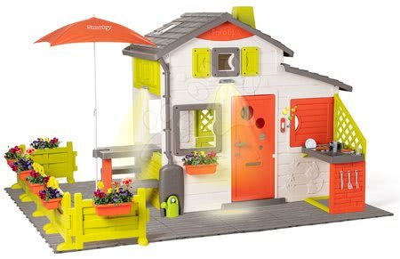 Căsuța Neo Friends House DeLuxe Smoby cu intrare din spate cu grilaj și pasarelă în grădină SM810211-I