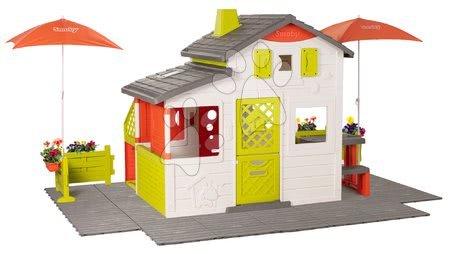 - Házikó Neo Friends House DeLuxe Smoby virágos felvezető úttal és két napernyővel_1