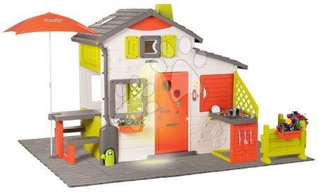 Căsuța Neo Friends House DeLuxe Smoby cu măsuță și băncuță sub umbrelă în grădină și bucătărie SM810211-L