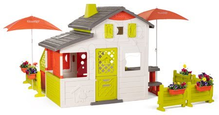 - Házikó Neo Friends House DeLuxe Smoby Bio kávézóval és játékkonyhával és étkezőrésszel napernyő alatt_1