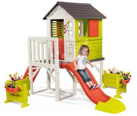 Domečky pro děti - Domeček na pilířích Pilings House Smoby s 1,5 m skluzavkou zvonkem a velkou zahrádkou