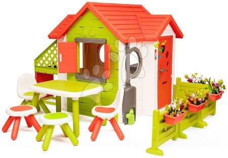 Házikó My Neo House DeLuxe Smoby XL bővített változat és asztal 2 székkel és 2 taburettel