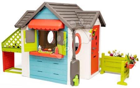 Igračke za djecu od 2 do 3 godine - Kućica s vrtnim restoranom Chef House DeLuxe Smoby i zelenim namještajem i ogradom_1