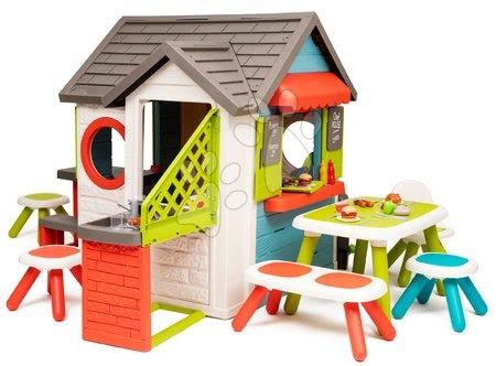 Căsuță de grădină cu bufet Chef House DeLuxe Smoby variantă extinsă cu mobilier pentru copil de la 24 de luni