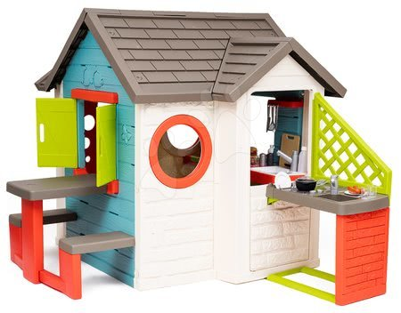 Domečky pro děti - Domeček se zahradní restaurací Chef House DeLuxe Smoby s vnější kuchyní a stůl s lavicemi