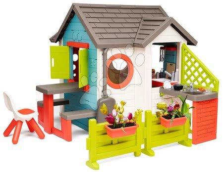 Domečky pro děti - Domeček se zahradní restaurací Chef House DeLuxe Smoby s nástavbovým řešením a židlí