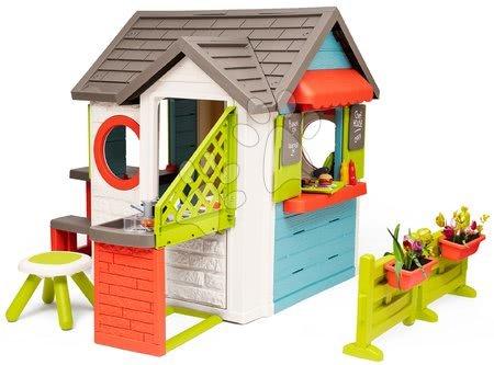 Domečky pro děti - Domeček se zahradní restaurací Chef House DeLuxe Smoby s nástavbovým řešením a stolečkem