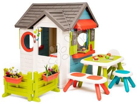 Domečky pro děti - Domeček se zahradní restaurací Chef House DeLuxe Smoby se zahradním posezením a se živým plotem