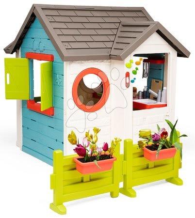 Domečky pro děti - Domeček se zahradní restaurací Chef House DeLuxe Smoby se zahradním posezením a se živým plotem_1