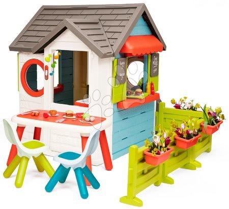 Házikó kerti büfével Chef House DeLuxe Smoby asztallal, székekkel és előkerttel