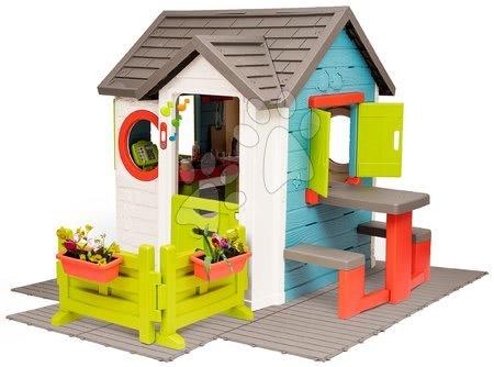 Domečky pro děti - Domček so záhradnou reštauráciou Chef House DeLuxe Smoby so stolom a predzáhradkou na podlahe SM810221-U