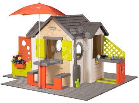 Smoby - Domeček přírodní My New House Smoby rozšiřitelný s podlahou a komplet výbavou od 24 měsíců