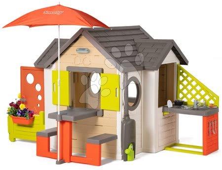 novi-proizvod - Kućica prirodna My New House Smoby s proširenjima pod suncobranom i potpunom opremo