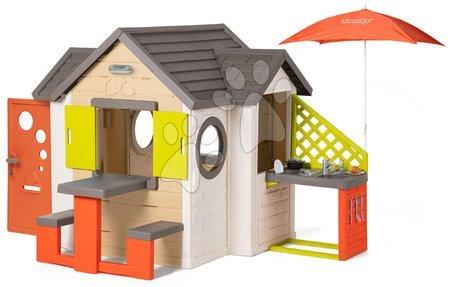 novi-proizvod - Kućica prirodna My New House Smoby s proširenjima i kuhinjom pod suncobranom od 24 mjes