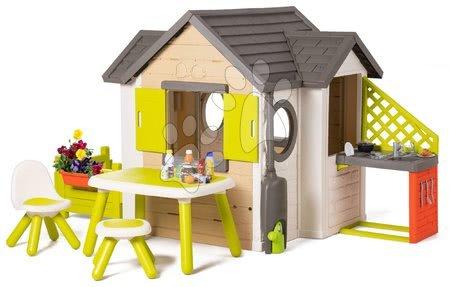 novi-proizvod - Kućica prirodna My New House Smoby s proširenjem s kuhinjom i kutkom za jelo od 24 mjes