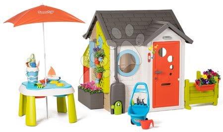 Igračke za djecu od 2 do 3 godine - Vrtna kućica Garden House Smoby s izuzetnom opremom i pješčanikom pod suncobranom od 24 mjes