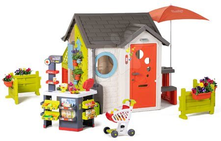 Igračke za djecu od 2 do 3 godine - Vrtna kućica Garden House Smoby s izuzetnom opremom i supermarketom na vrtu od 24 mjes