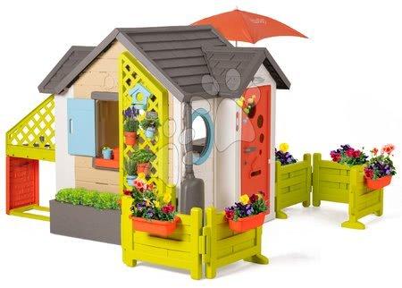 Smoby - Domeček pro zahradníka Garden House Smoby výjimečně rozšiřitelný s plnými dveřmi a velkou předzahrádkou od 24 měsíců